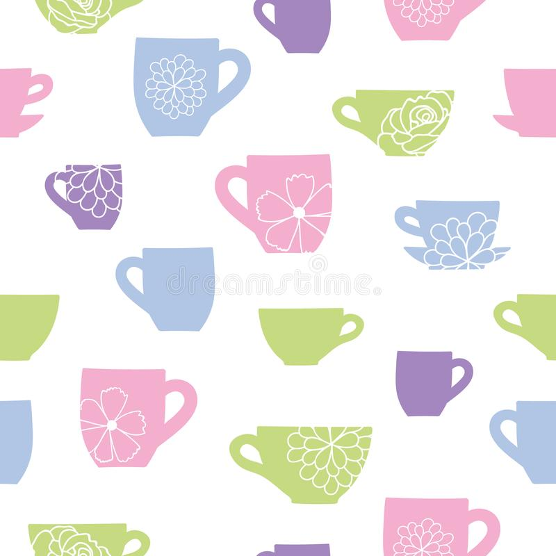 Vector pastel colorful cups and flowers seamless pattern background. stock illustration
