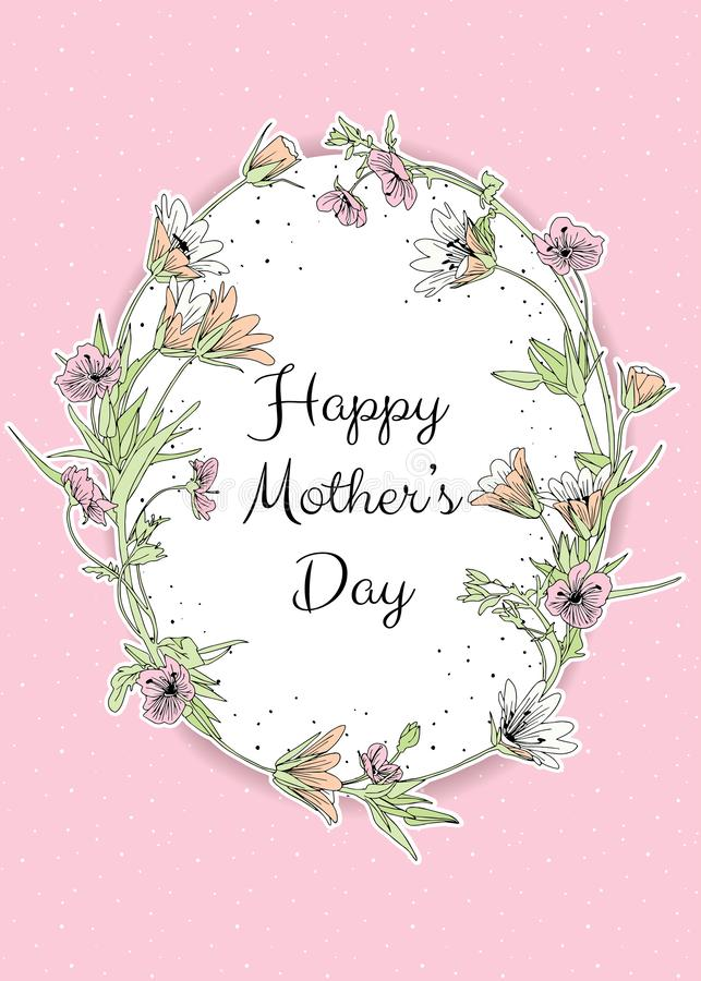 Vector pastel coloured Happy Mothers Day greeting card template royalty free illustration
