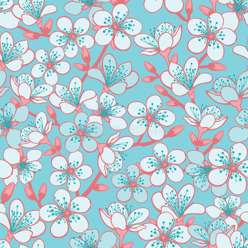 Vector pastel cyan background with light blue cherry blossom sakura flowers and red stems seamless pattern background. Surface pattern design stock illustration