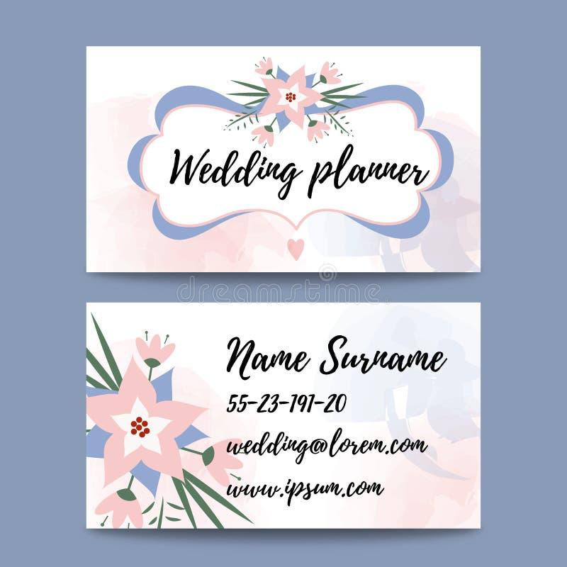 Vector Pastel Feminine Business Card Template Mockup With Logo - Wedding business card template