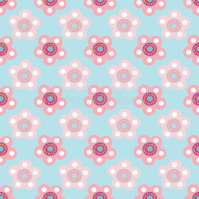 Vector pastel floral seamless pattern repeat on light blue background. stock illustration
