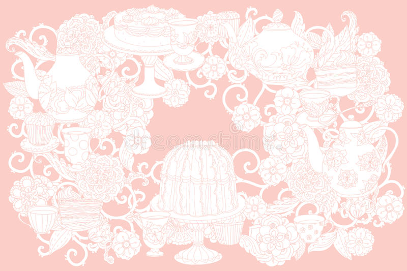 Vector Pastel Floral tea time. Vector Pastel Floral and tea time elements. Perfect for invitations or announcements vector illustration