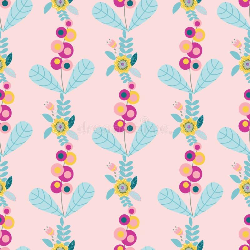 Vector pastel folk floral motifs seamless pattern. royalty free illustration