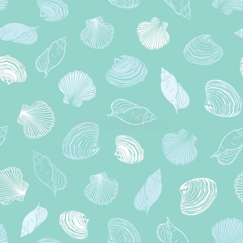 Vector pastel light blue seashells paradise repeat pattern. Suitable for gift wrap, textile and wallpaper. vector illustration