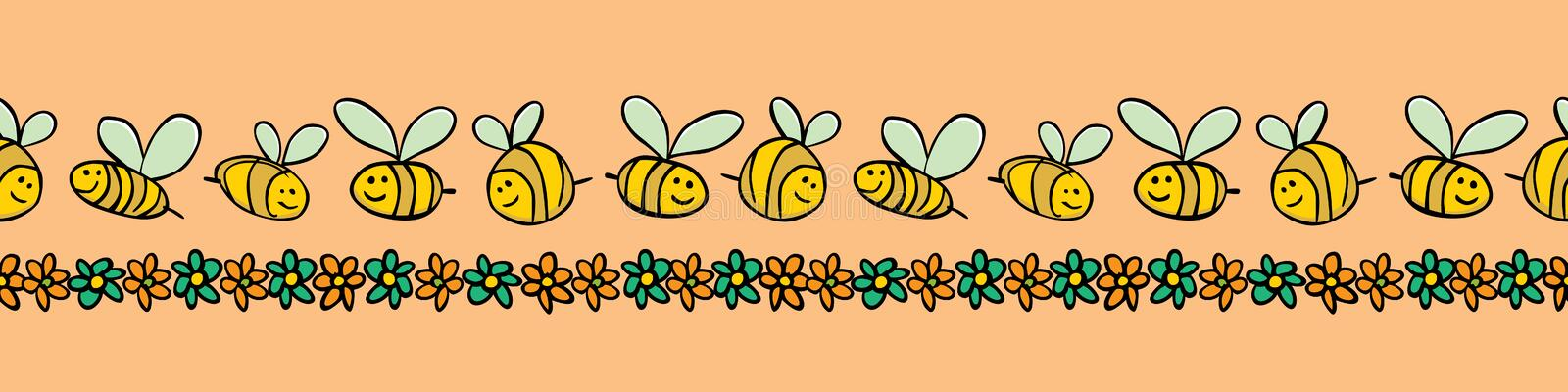 Vector pastel orange bees and flowers stripes horizontal border pattern. Suitable for gift wrap, textile and wallpaper. vector illustration