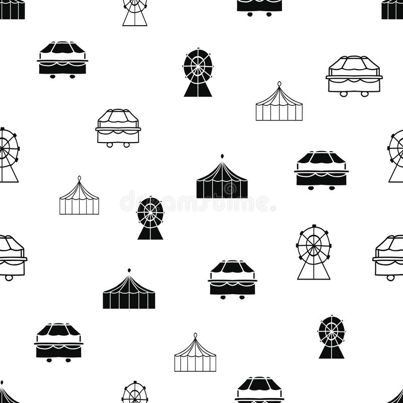 Vector black and white carnival elements seamless repeat pattern royalty free illustration