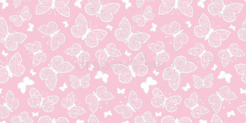 Vector Pastel Pink Butterflies Repeat Seamless Pattern