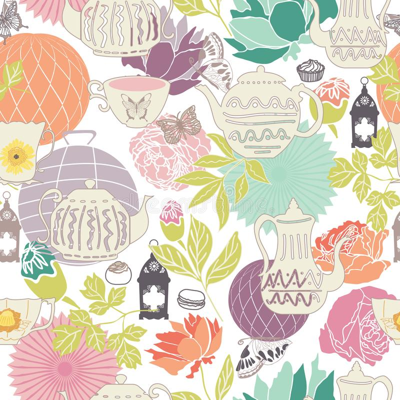 Vector pastel vintage garden tea party seamless pattern background in a flower garden-like arrangement. Ideal for wallpaper, fabric, scrap booking, invitations vector illustration