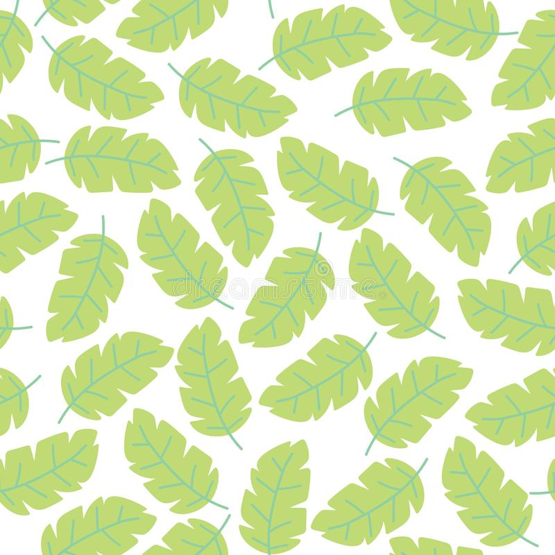 Vector pastel White background seamless pattern with tropical colorful monstera leaves. Exotic floral wallpaper. Jungle royalty free illustration