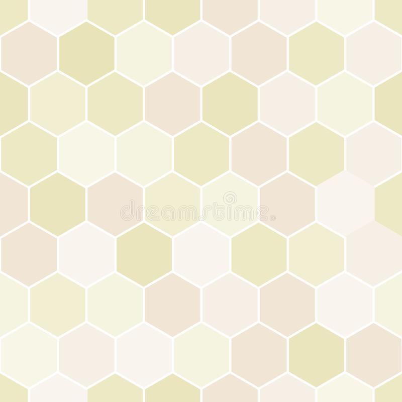Vector Pastel Yellow Peach Abstract Geometric Hexagons Hive Texture Seamless Repeat Pattern royalty free illustration