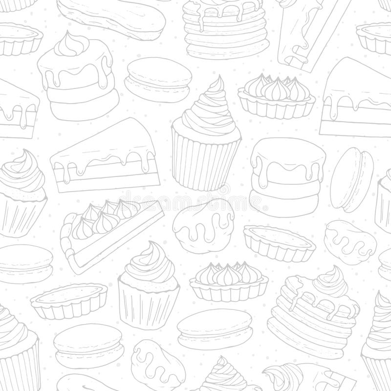 Vector pastry repeat pattern with cakes, pies, muffins, pancakes. Macarons and eclairs outline on the dotted background. Hand drawn sweet bakery in sketch stock illustration