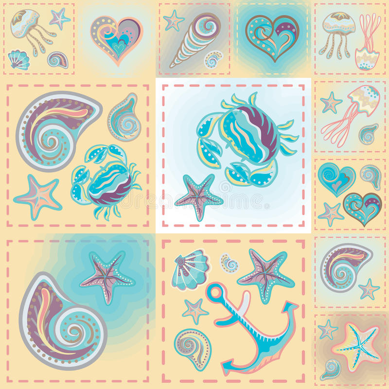 Vector patchwork nautical patterns. Use to create quilting patches or seamless backgrounds for various craft projects royalty free illustration