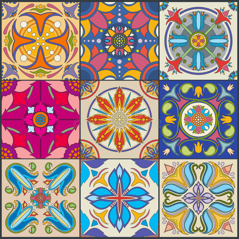 Vector patchwork seamless wall tile pattern, ceramic mexican tiles. Traditional mosaic tile for floor or wall, illustration of floral tiles stock illustration