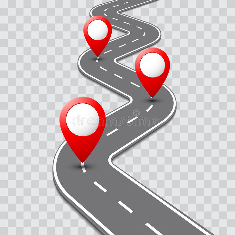 Vector pathway road map with GPS route pin icon stock illustration