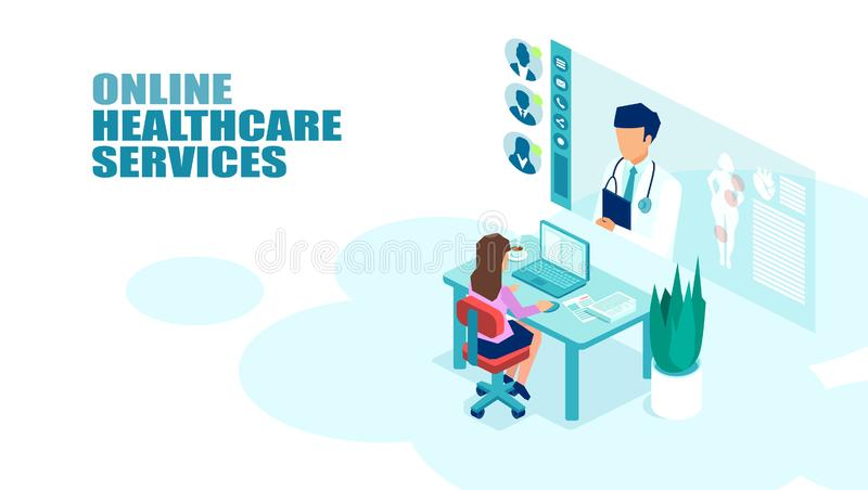Vector of a patient meeting a doctor online using modern computer technology vector illustration