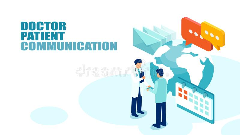 Vector of a patient meeting a physician for annual checkup. Doctor patient communication concept. Vector of a patient meeting a physician for annual checkup vector illustration