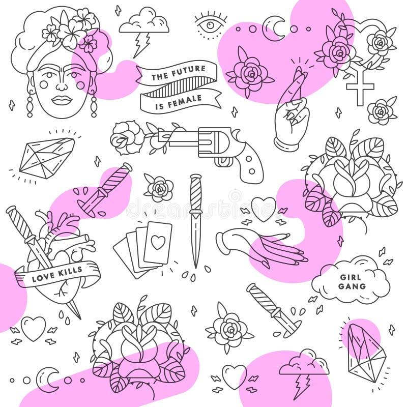 Vector patroon Feminismeslogan Vrouwenrecht Het citaat van de meisjesmacht Symbool van de pictogram het vastgestelde manier met p stock illustratie