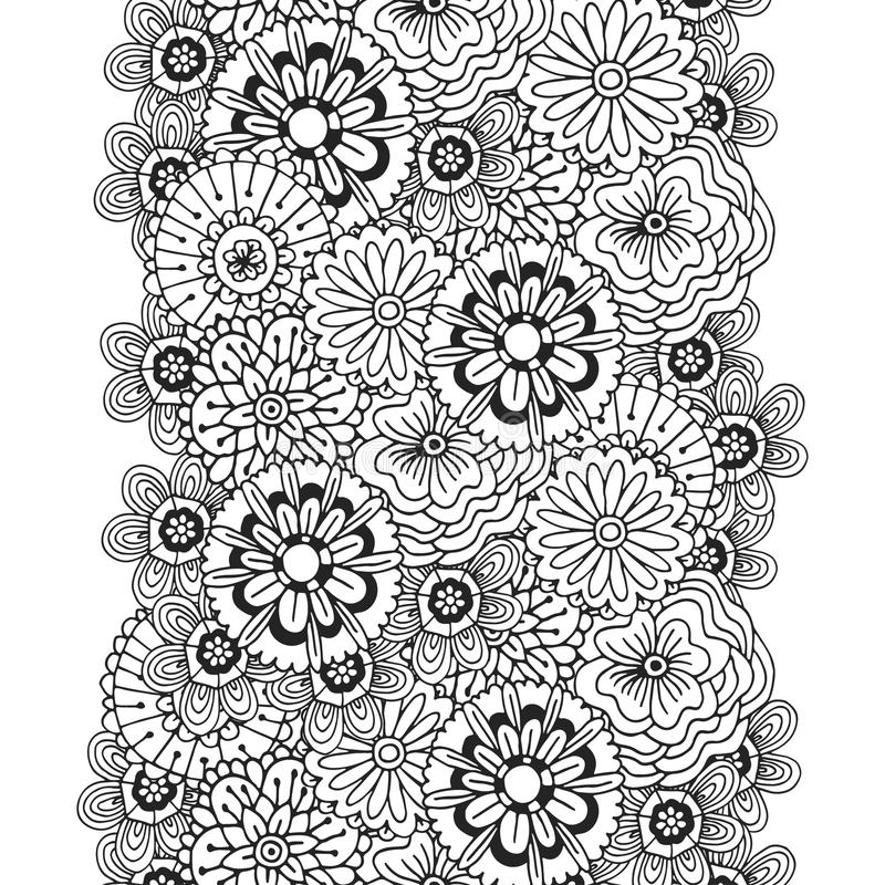 Download Vector Pattern With Abstract Ornament Of Flowers Adult Coloring Book Page Unique Design