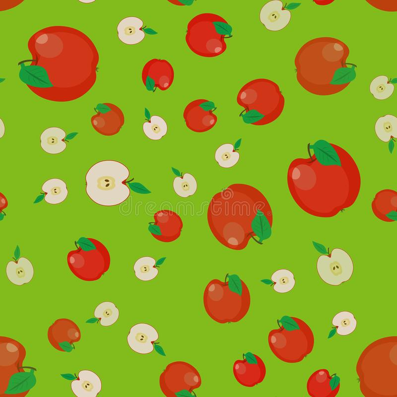 Vector pattern apple fruit. seamless Ripe red apple. Half an app stock illustration