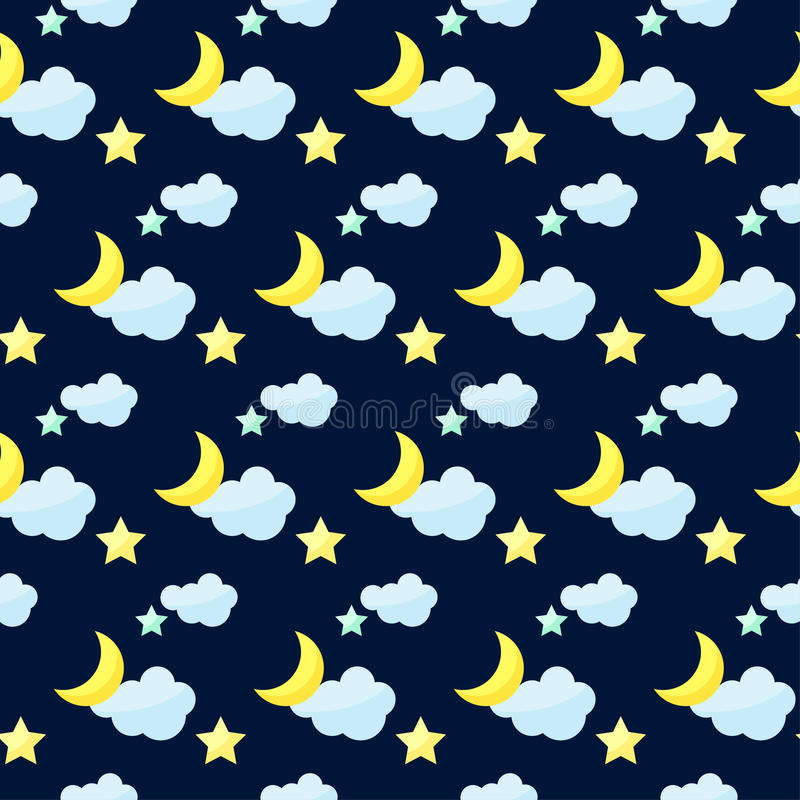 Vector pattern background with bright colored cartoon moon, clouds and stars on the dark cover. Vector seamless pattern background with bright colored cartoon vector illustration