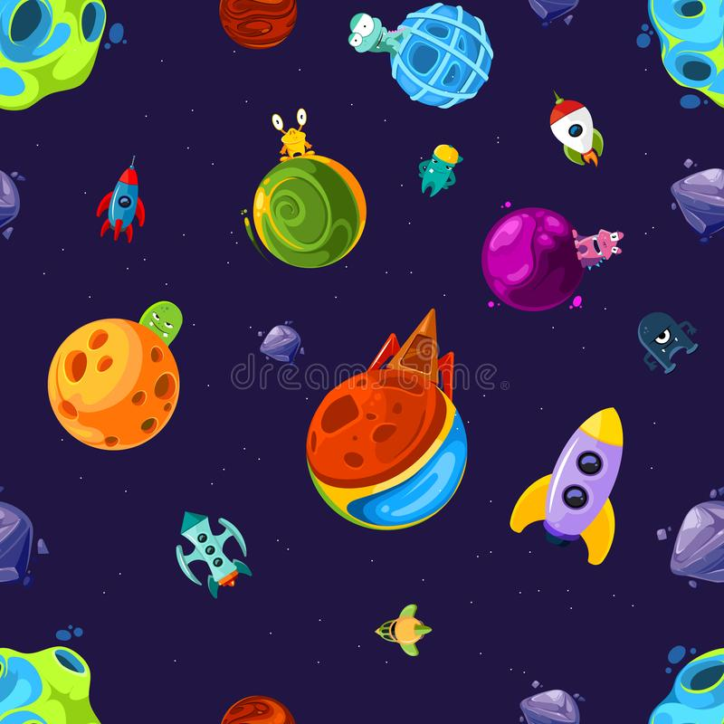 Vector pattern or background illustration with cartoon space planets and ships. Pattern space with planet alien and spaceship extraterrestrial vector illustration