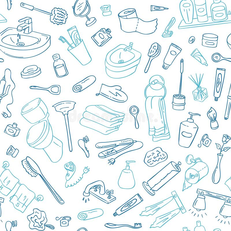 Vector pattern background with hand drawn doodle bathroom elements illustration stock illustration