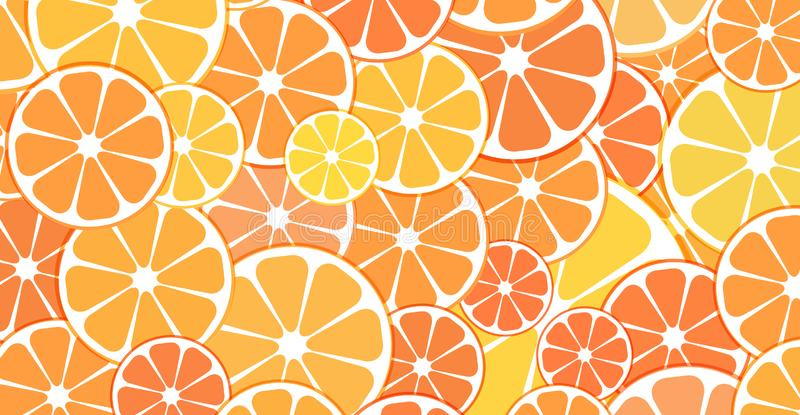 Vector Pattern background. sliced halves of citrus fruits orange. S and tangerines. For business projects banner, cover, layout stock illustration
