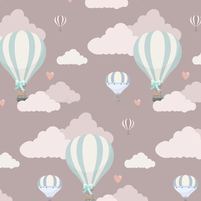 Vector pattern with balloon, clouds and animals vector illustration