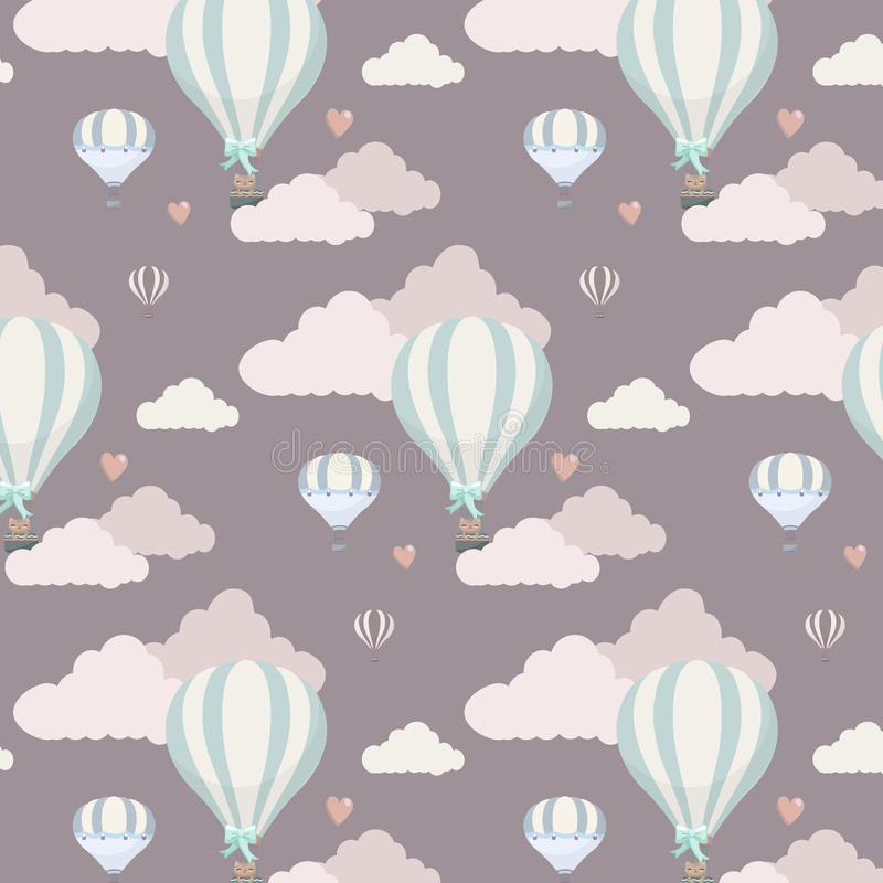 Vector pattern with balloon, clouds and animals royalty free illustration