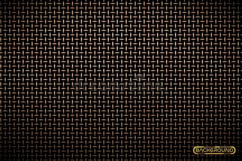 Vector pattern of brass metal grid techno background. Iron grill industrial texture. Web page fill pattern. Technology wallpaper. Vector pattern of metal grid vector illustration