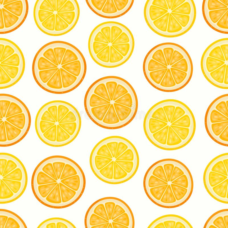 Vector pattern with cartoon lemon and oranges isolated on white. Vector seamless pattern with cartoon lemon and oranges isolated on white. Bright slice of tasty royalty free illustration