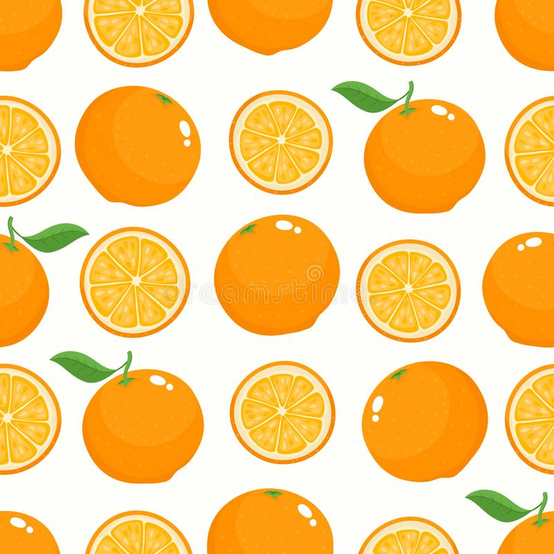 Vector pattern with cartoon oranges isolated on white. Vector seamless pattern with cartoon oranges isolated on white. Bright half, slice and whole of tasty vector illustration