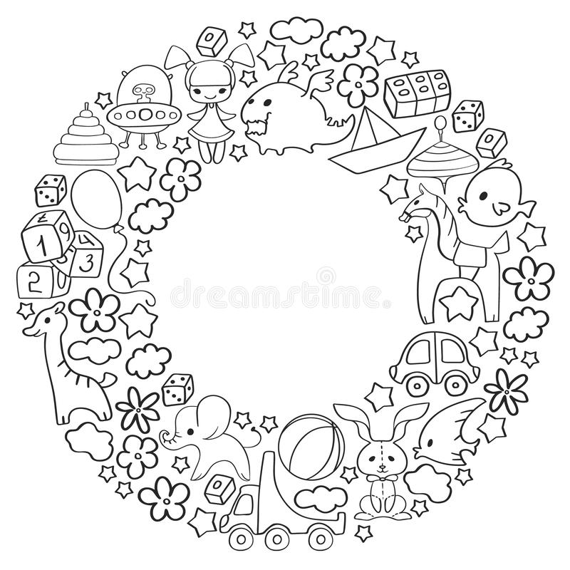 Vector pattern with children toys. Kindergarten elements in doodle style for little kids. Education, play, grow vector illustration