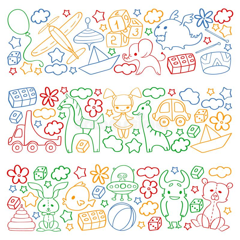 Vector pattern with children toys. Kindergarten elements in doodle style for little kids. Education, play, grow stock illustration