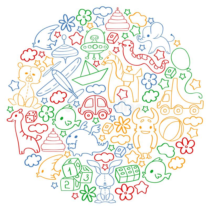 Vector pattern with children toys. Kindergarten elements in doodle style for little kids. Education, play, grow royalty free illustration