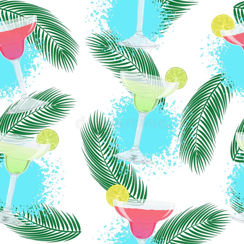 Vector pattern with classic and strawberry Margarita cocktails. Vector cute seamless pattern with glasses of classic and strawberry Margarita cocktails. Summer vector illustration
