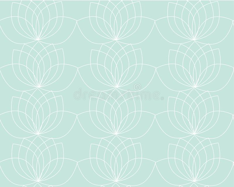 Vector pattern with contour of water lilies or lotos. Soft blue or turquoise color texture, wallpaper, background. stock illustration