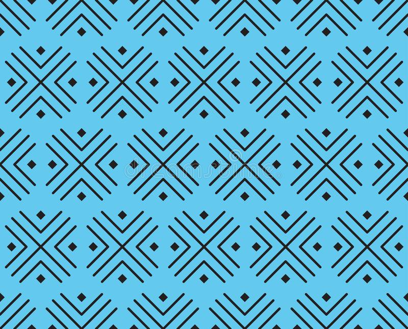 Vector pattern of crosses and squares of black color on a blue background. stock illustration
