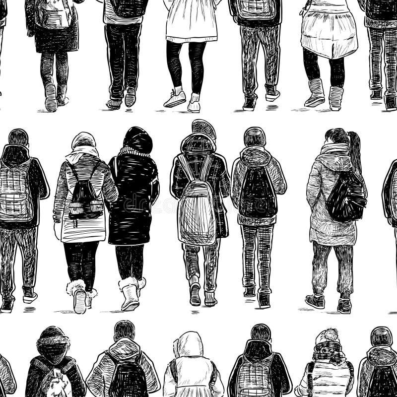 Seamless background of walking school children vector illustration