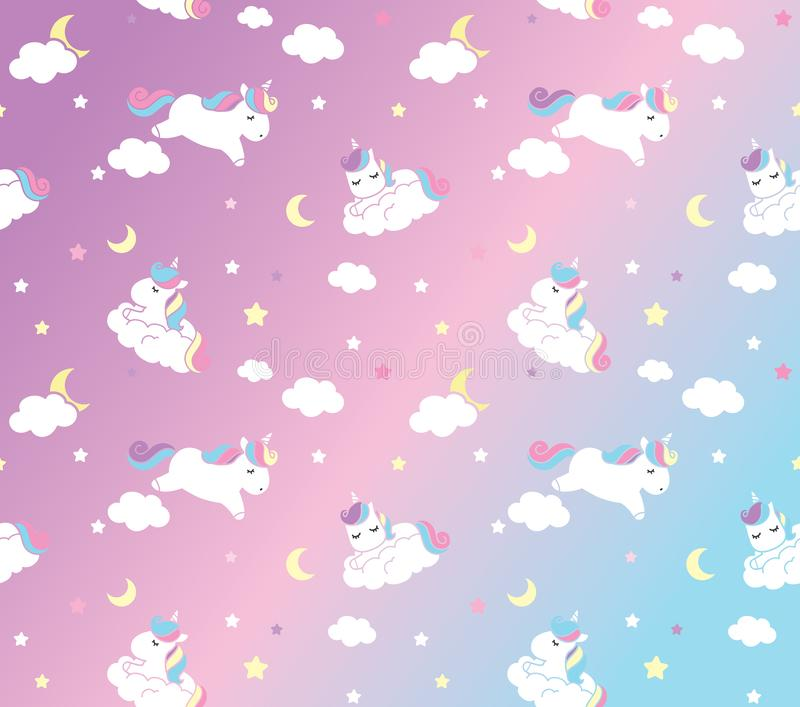 Vector pattern with cute unicorns stock photo