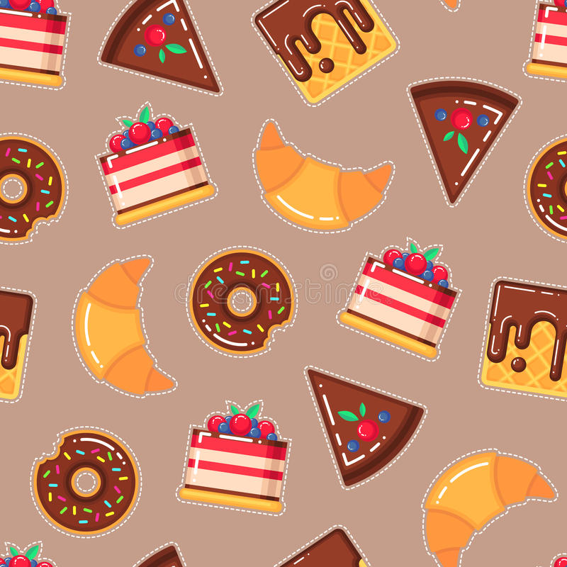 Vector pattern with donuts, cakes, waffles, croissants stock illustration