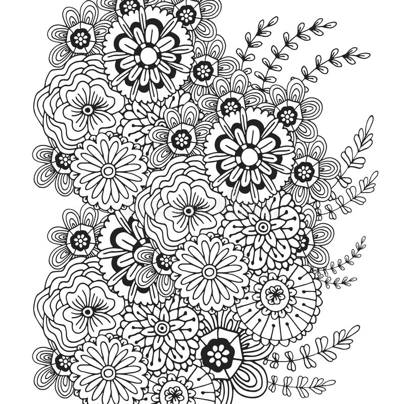 Download Vector Pattern With Doodle Ornament Of Flowers Adult Coloring Book Page Zentangle Design