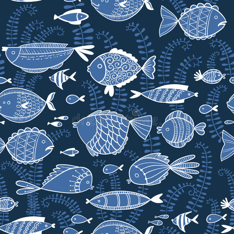 Vector pattern with fishes in cartoon style royalty free illustration