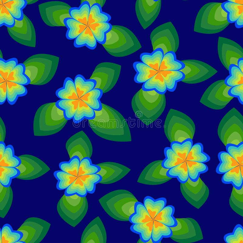 Vector pattern of flowers and leaves on a blue background. vector illustration