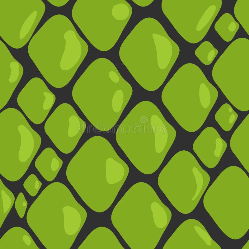 Vector Pattern of Green Snake Skin stock illustration