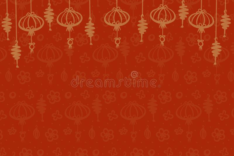 Vector pattern with hand drawn chinese decoration elements, golden on red background for Chinese or Japan new year vector illustration