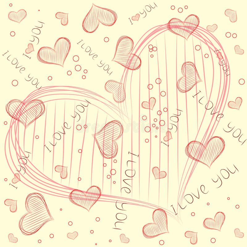 Vector pattern with heart vector illustration
