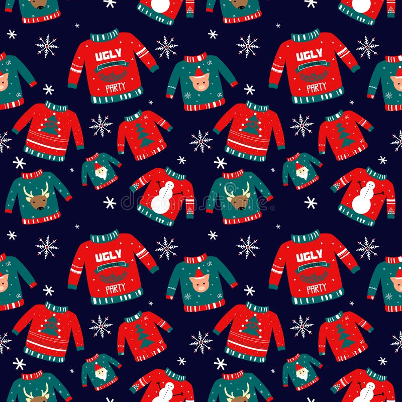 Vector pattern for holiday events as Ugly Christmas Sweater party royalty free illustration