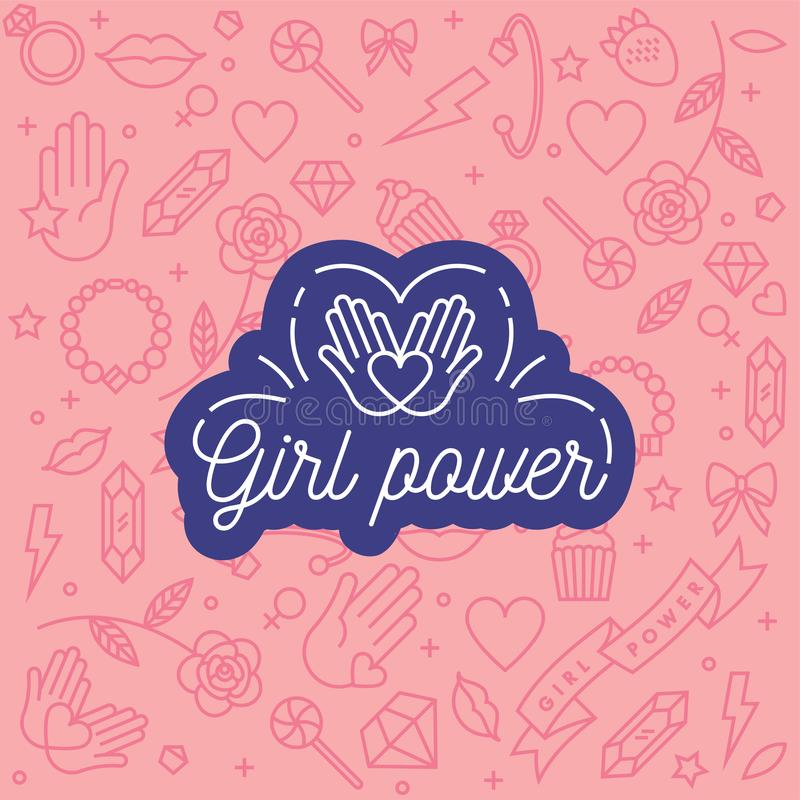 Vector pattern with icon and hand-lettering phrases related to girl power and feminist movement - abstract background. For prints, t-shirts, cards vector illustration