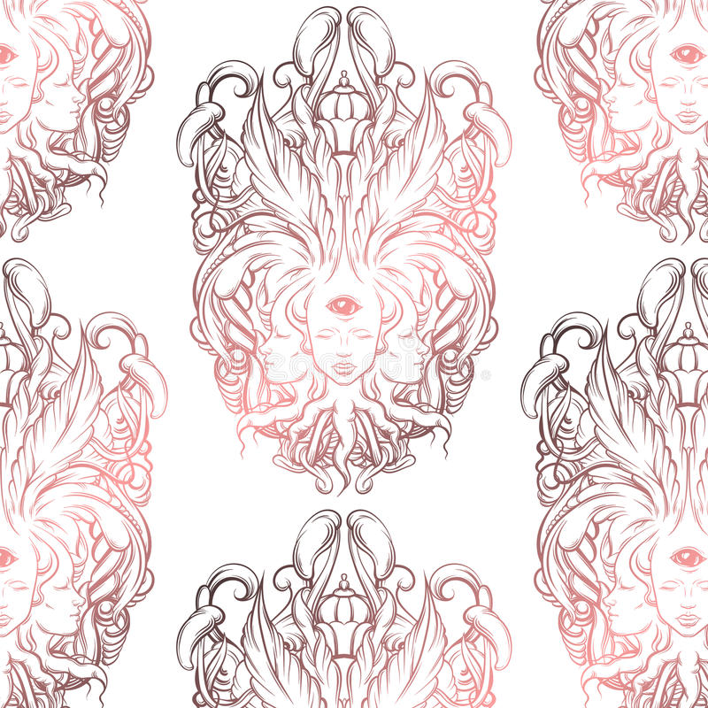 Vector pattern with illustration of fortune teller with three heads, eyes, floral baroque frame. royalty free illustration